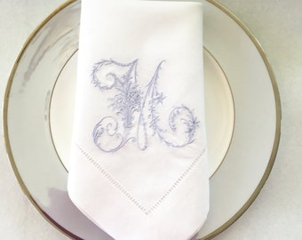 Embroidered Linen Cloth Napkins.  Monogrammed Victorian Letter.  Linen Table Linens.  Wedding Gift. White Linen Napkins.  Cloth Napkins.