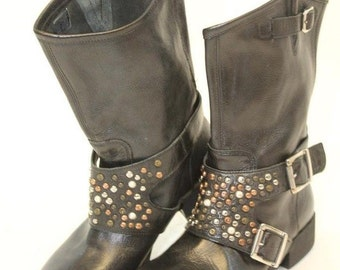 Moto Boots, Studded Biker Boots, Womens Designer Boots, Giove Boots, Black Leather, Studs with Side Buckles, New Boots, 6M, Made in Italy