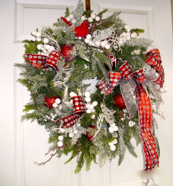 Red And White Christmas Wreath Evergreen Wreath Cardinal