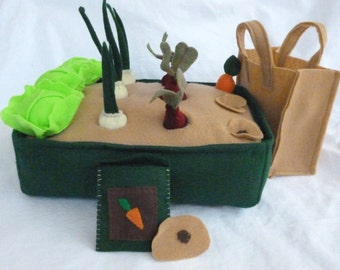 Felt Vegetable Garden Farmer's Market Playset with Tote Bag, Seed Packet and Seeds Included, Felt Garden, Kids Travel Toys