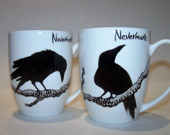 Raven Mugs Crow Mugs Pair The Raven Quote Hand Painted Edgar Allan Poe NEVERMORE!  Bone china mugs