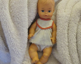 Vintage 1970s Playmates Little Softie Drink & Wet Vinyl Baby Doll with Original Outfit Made in Hong Kong 809021 Adorable