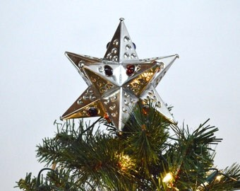 New! *Christmas Tree Topper* Tin Glass Bead Star Tree Topper