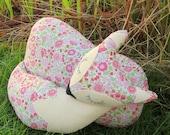 Snoozy fox.  A fox cushion made from Liberty Lawn.  Fox pillow.