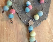 Crooked Pastel Color Wool Felt Balls SET of Chain Necklace and Earrings - Ecofriendly - Natural Earthy Jewelry Set