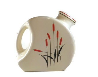 Universal Potteries Cattail Jug with Stopper - Camwood Ivory Cattail Pitcher - Universal Cambridge - Art Deco Pitcher