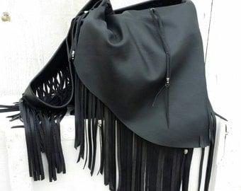Black Fringe Handbag / Bohemia Leather Fringe Purse / Black Leather Fringe Hobo Bag / Leather Fringe Hobo Bag / Gypsy Fringe Bag