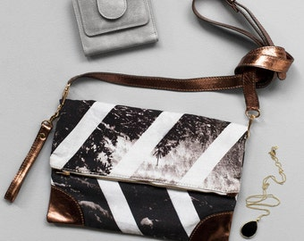 Strike Clutch - Printed Cotton Fold Over Clutch with Leather