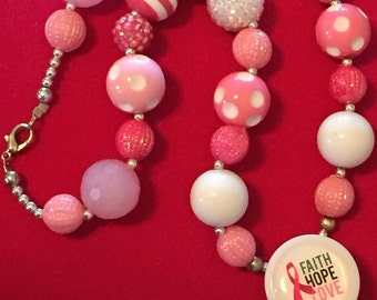 Cancer Awareness Necklace, Cancer Bead Necklace.