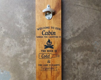 Cabin Wood Wall Mount Beer Bottle Opener