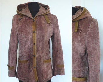 1970s Split End Ltd Suede Leather Jacket | hooded