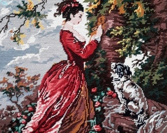 Young girl and dog after Fragonard painting-  hand stitched needlepoint tapestry ideal for wall/cushion/pillow/bag/stool/chair cover