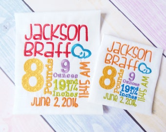 Baby Birth Announcement Embroidery Design Template. Newborn Subway Art Template. Cute baby embroidery design 4x4, 5x7 and 6x9 hoop size.
