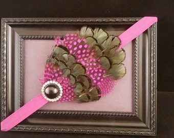 Gorgeous Pink Guinea and Lady Amherst Featherpad Headband