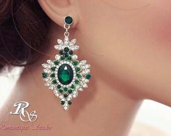 Emerald green bridal earrings green rhinestone earrings green crystal bridal earrings emerald green wedding jewelry emerald earrings  1181Gn
