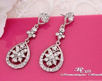 Crystal wedding earrings, vintage style, rhinestone earrings, drop earrings, chandelier earrings, bridal jewelry - 1196