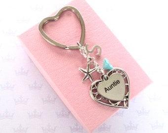 Auntie gift - Personalised Auntie keyring - Auntie Birthday  - Starfish keychain - Initial keyring - Gift for Auntie - Starfish keyring - UK