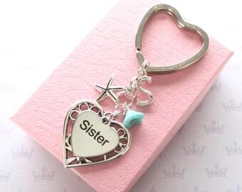 Sister keychain - Personalised Sister keychain - Starfish keyring - Birthday gift for Sister - Custom Sister keychain - Sister keyring - UK