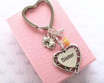 Sister keychain - Kitty cat keyring - Personalised Sister keyring - Cute cat keychain - Birthday gift for Sister - Cat lover gift - Etsy UK