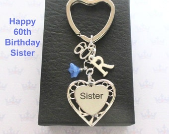 Sister 60th birthday gift - 60th keychain - Sister gift - Personalised 60th keyring - Personalised sister keyring - Sister keychain - UK