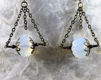Brass Opalite Beaded Chain Dangle Earrings