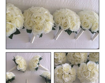Stunning artifical vintage ivory real look rose bridesmaids bouquets, with beautiful crystal pins, Brides bouquet & matching items available
