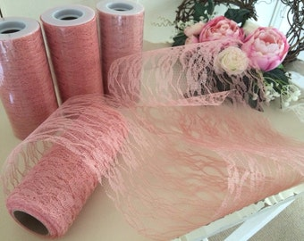 Wedding vintage style dusky pink x1 roll of lace 10 metres x 15cms for pew ends, table runners, centrepieces bouquets rustic shabby chic