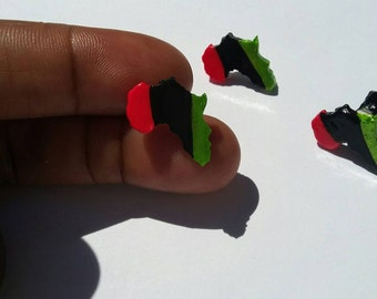 RBG Africa stud earring handpainted