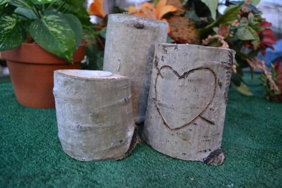Aspen tealight heart wedding decor aspen wood tea candle for Aspen logs for decoration