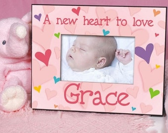 Personalized Baby Girl Pink heart picture frame