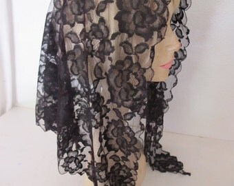 Black Lace Veil Black Lace Mantilla Black Lace Shawl Spanish