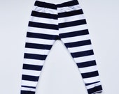 Baby Leggings, Navy and white stripe Leggings, MADE TO ORDER Cotton Leggings by The Little Spoons