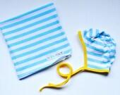 Baby BUNDLE - Aqua Stripe swaddle and Bonnet, Aqua and White Striped with yellow Trim , Knit reversible bonnet, pilot cap