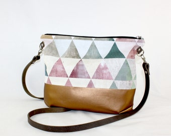 Triangles copper Crossdiv bag with leather handles