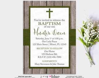 Boy Baptism Invitation -  Rustic Olive Green Christening Burlap Wood Cross First Communion Invite Confirmation - Printable Digital File