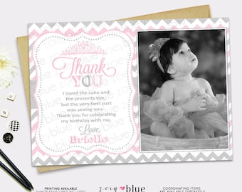 Little Princess Birthday Thank You with Picture Printable- 1st First Birthday- Grey Pink Zig Zag Chevron- Digital File