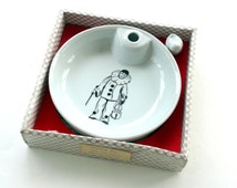Porcelain Baby Warming Bowl, Pierrot the Clown, Baby Food Bowl, New Baby Gift, French Kitchen, Hand Painted Porcelain, Baby Shower Gift