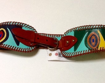 Vintage Abstract Wide Leather Belt / NOS / Multi Color / SZ M / By Hensler /Boho / Wearable Art / High Fashion / Rocker / Hipster