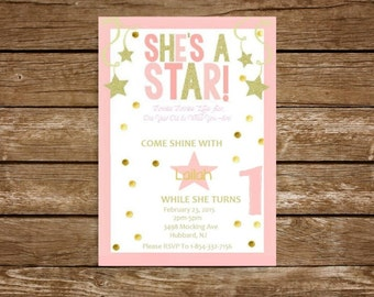 Custom Pink and Gold Star Birthday Invitation