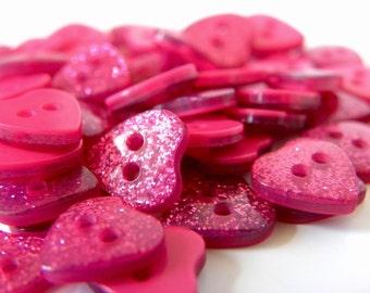 10 x 10mm Glitter Hearts - Pink