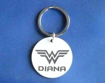 Wonder Woman Dog - Cat - Pet id Tag - White & Black