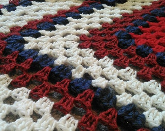 FREE shipping!!! Blanket Throw- Crochet- Granny Square- Red White and Blue- Patriotic- American Flag- 4th of July