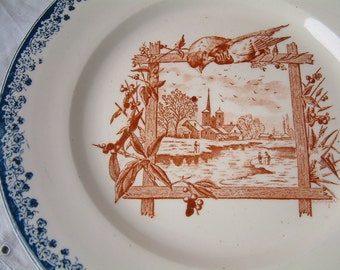 Antique french ironstone blue and brown transferware footed dessert plate. Pied douche cake plate. French transferware. Birds. Landscape