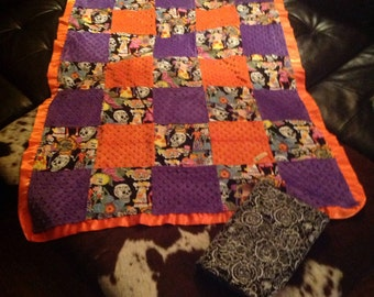 Day of the dead / skulls toddler blanket with fitted crib sheet! sugar skulls - ready to ship summer sale!