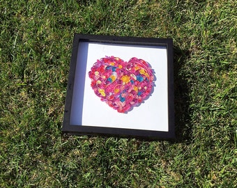 Quilled heart in frame