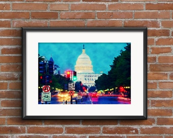 DIGITAL - United States Capitol - Pennsylvania Avenue - Federal Triangle - Washington D.C.- Digital Print- Instant Download