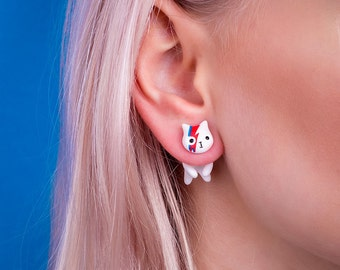 David Bowie Cat Earring | Red or Blue stud | Handmade & Handpainted | Magic Collection