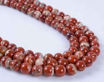 6MM211 6mm Red flame jasper round ball loose gemstone beads 16""