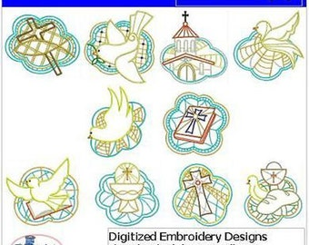 Embroidery Design CD - Christian(2) - 10 Designs - 9 Formats - Threadart