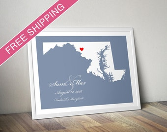 Personalized Maryland Wedding Gift : Custom Location and Map Print - Engagement Gift, Housewarming Gift - Wedding Guest Book Poster